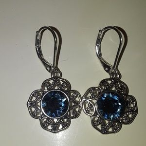Baby Blue and Silver Floral Earings